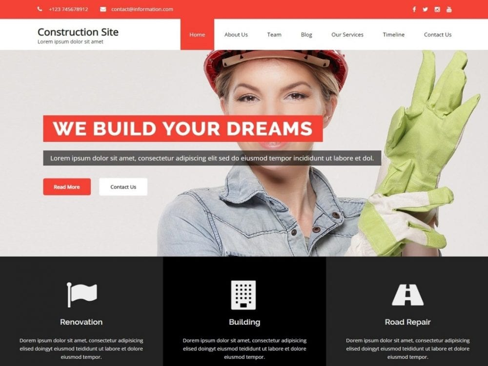 Free Construction Building WordPress theme