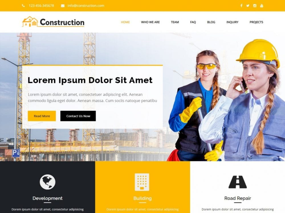 Free Construction City WordPress theme