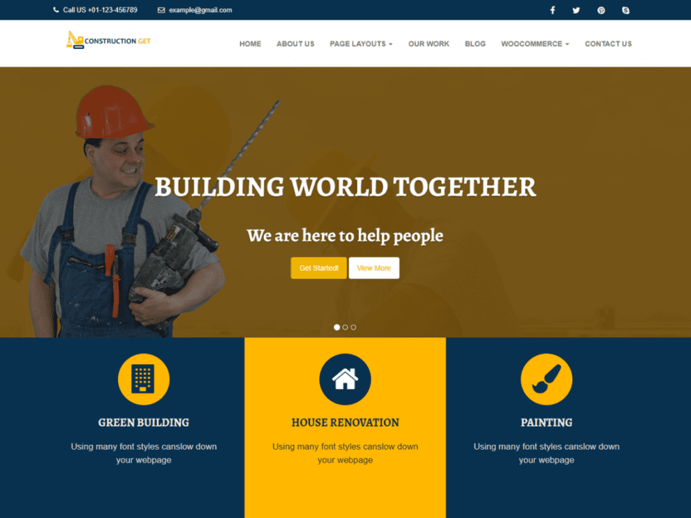 Free Construction Get WordPress theme