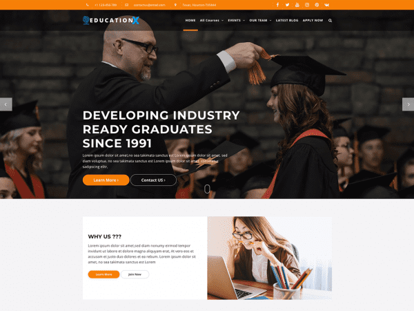 Free Education X WordPress theme