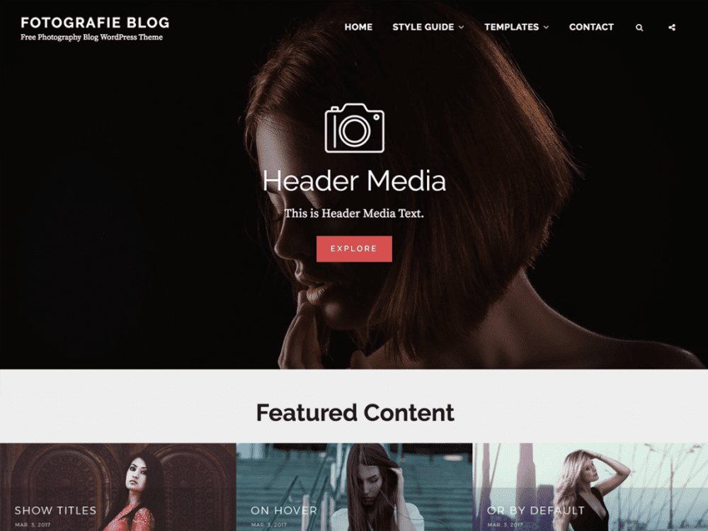 Free Fotografie Blog WordPress theme
