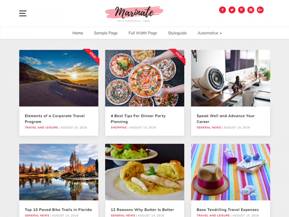 Free Marinate WordPress theme