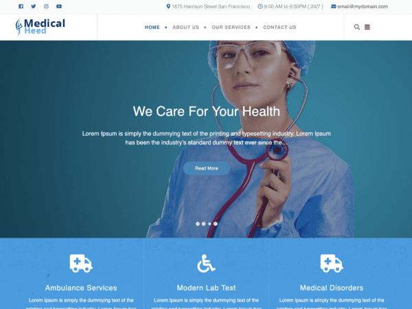 Free Medical Heed WordPress theme