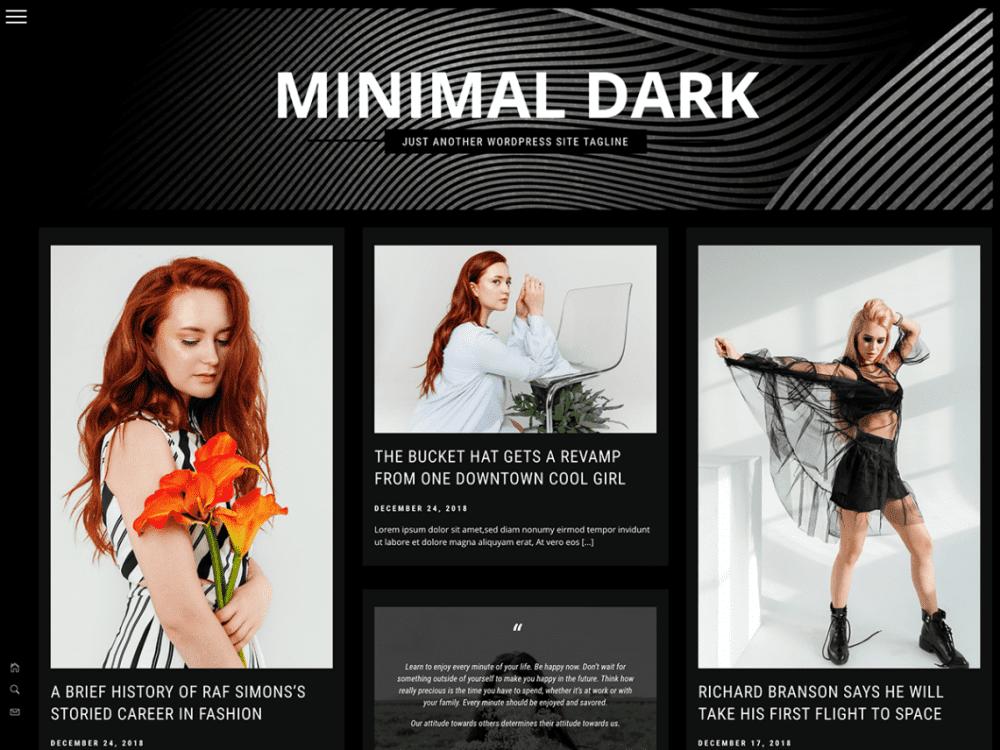 Free Minimal Dark WordPress theme