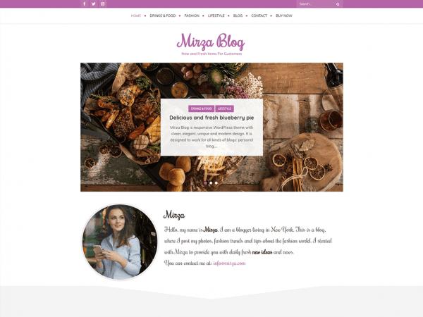 Free Mirza Blog WordPress theme