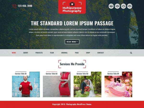 Free Multipurpose Photography WordPress theme