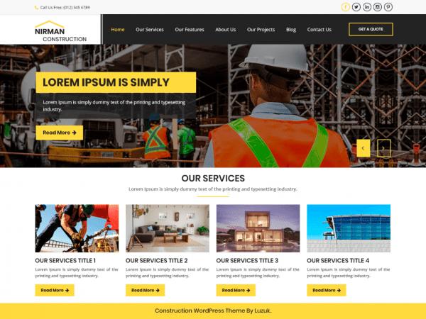 Free Nirman Construction WordPress theme