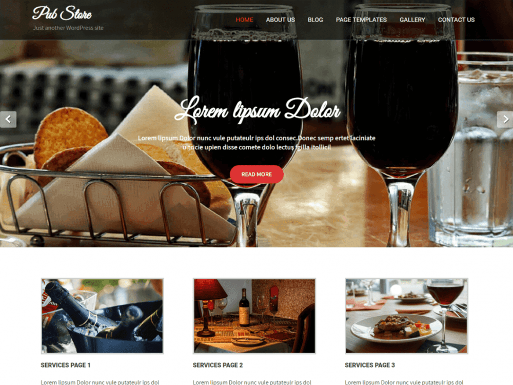 Free Pub Store WordPress theme