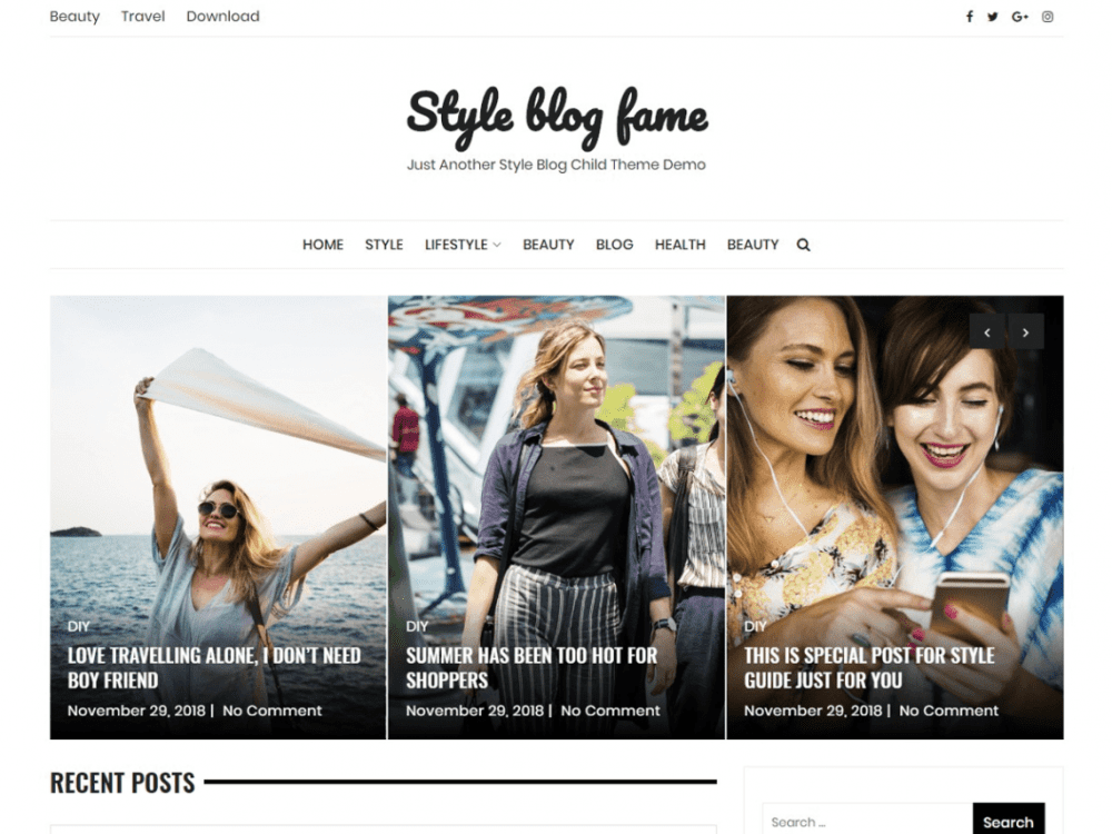 Free Style Blog Fame WordPress theme