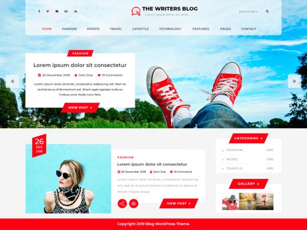 Free The Writers Blog WordPress theme