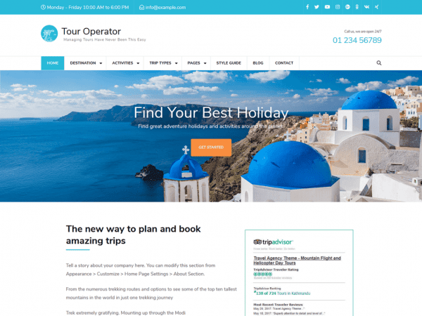 Free Tour Operator WordPress theme