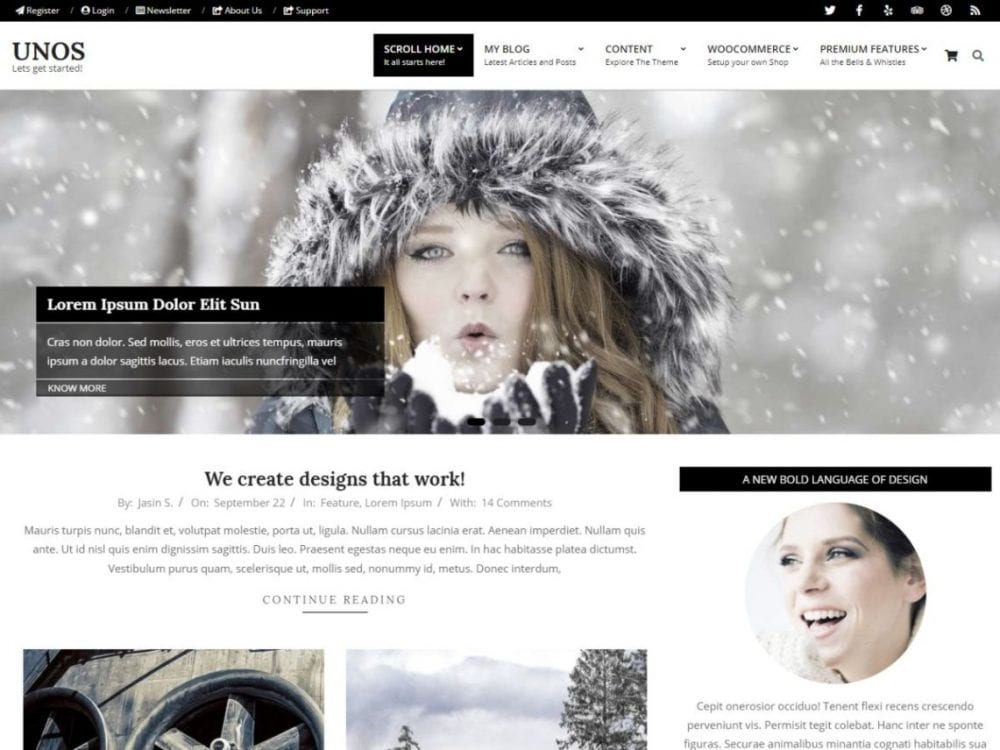 Free Unos WordPress theme