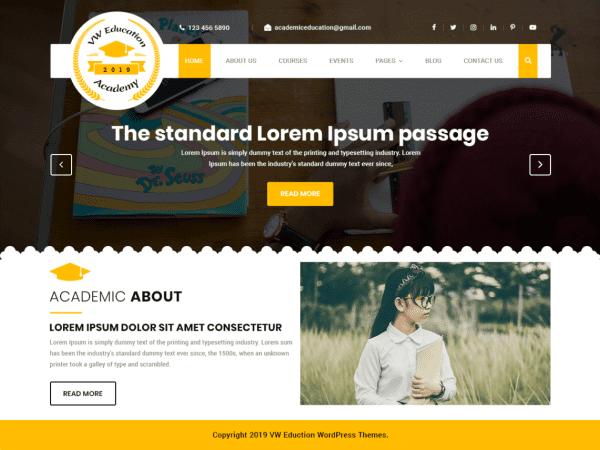 Free VW Education Academy WordPress theme