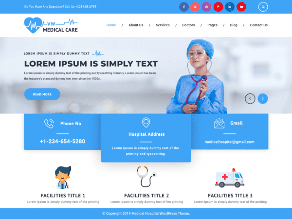 Free VW Medical Care WordPress theme