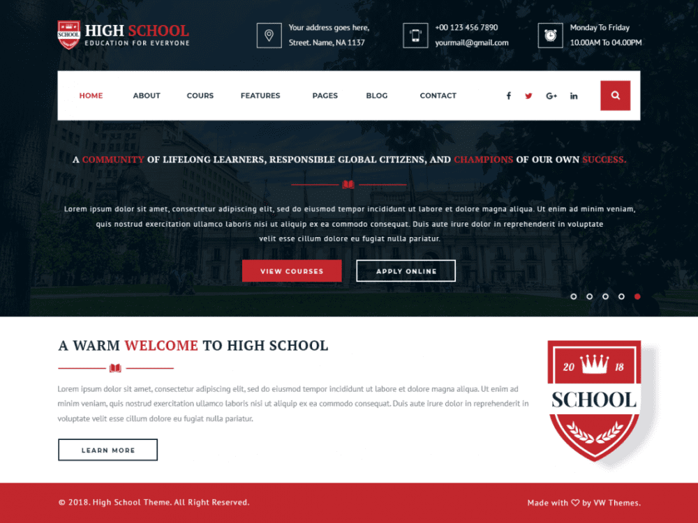 Free VW School Education WordPress theme