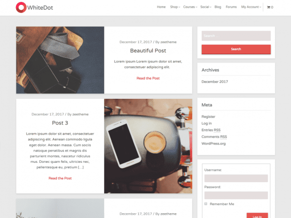 Free WhiteDot WordPress theme
