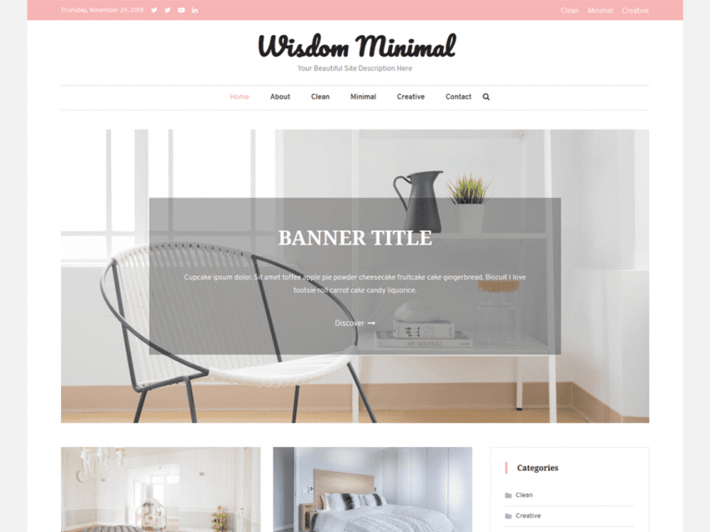 Free Wisdom Minimal WordPress theme