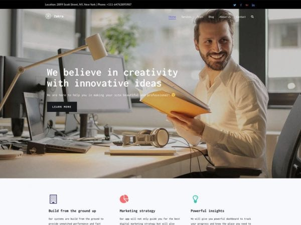 Free Zakra WordPress theme