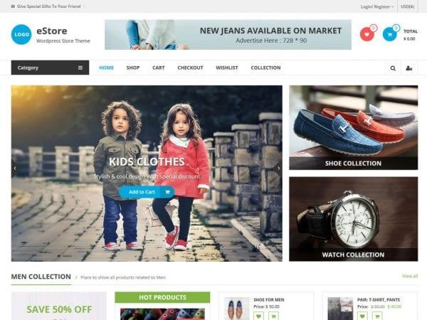 Free eStore WordPress theme