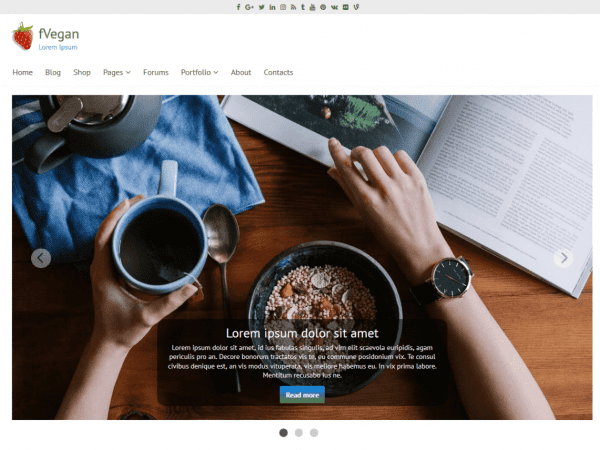 Free fVegan WordPress theme