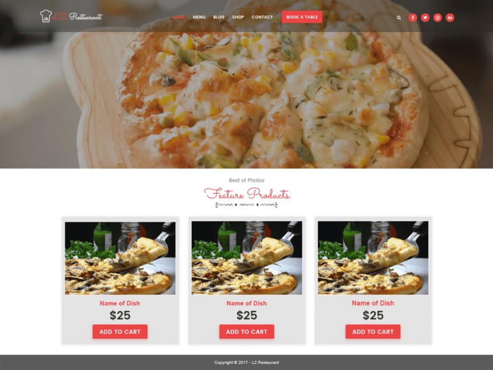 Free lzrestaurant WordPress theme