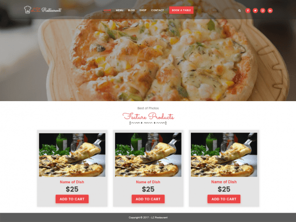 Free lzrestaurant WordPress theme