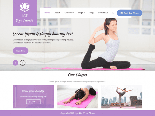 Free VW Yoga fitness WordPress theme
