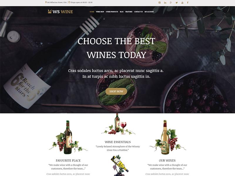 free ws wine wordpress theme