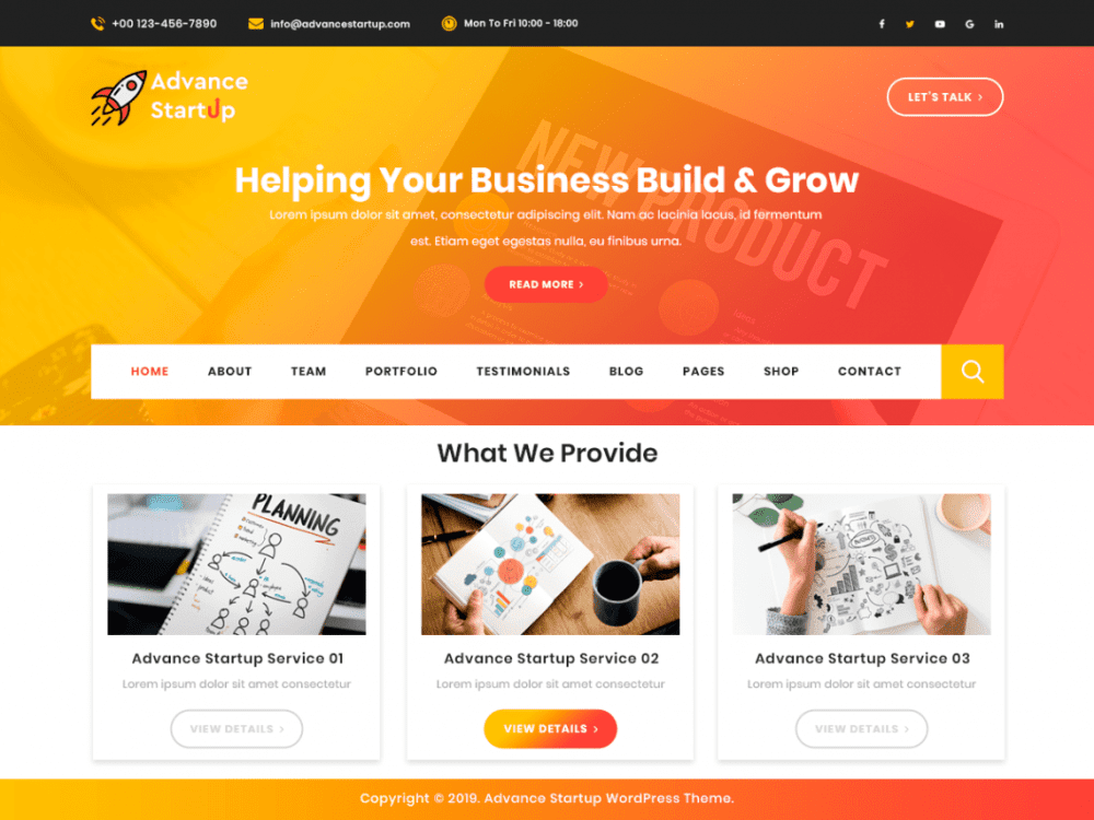 Free Advance Startup WordPress theme