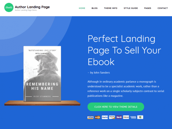 Free Author Landing Page WordPress theme