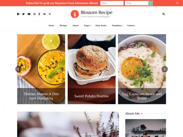 Free Blossom Recipe WordPress theme
