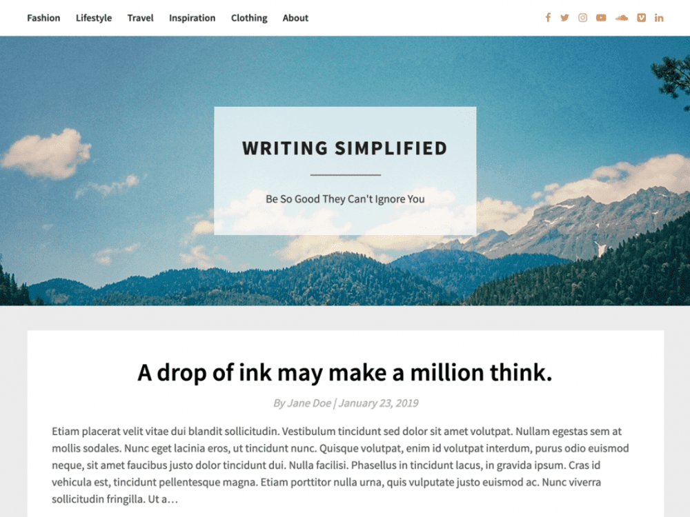 Free Bright Writing WordPress theme