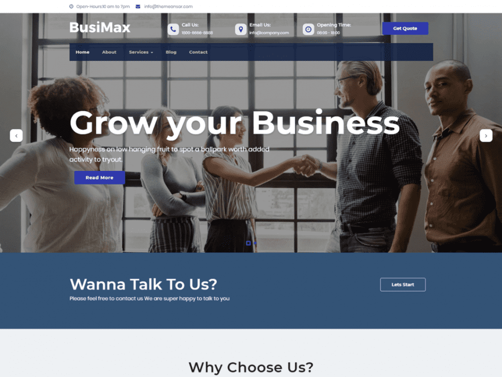 Free BusiMax WordPress theme