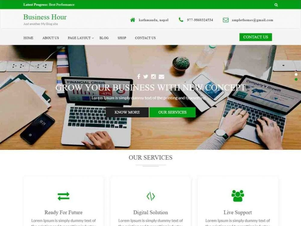 Free Business Hour WordPress theme