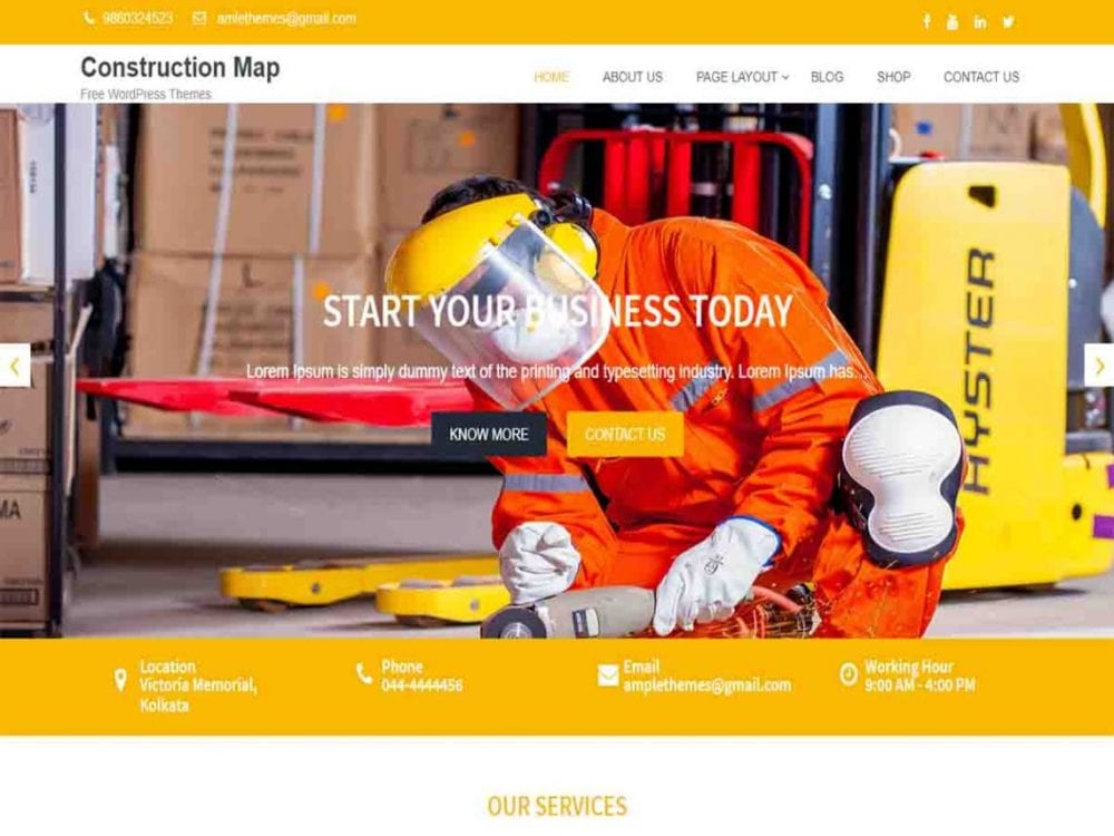 Free Construction Map WordPress theme