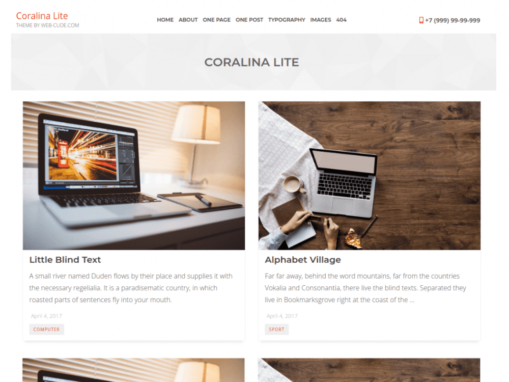 Free Coralina Lite WordPress theme