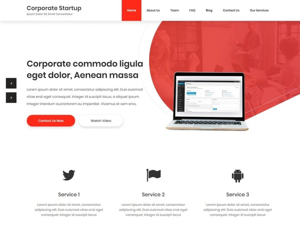 Free Corporate Startup WordPress theme