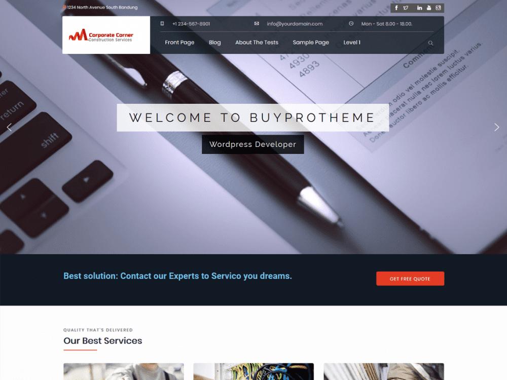 Free CorporateCorner WordPress theme