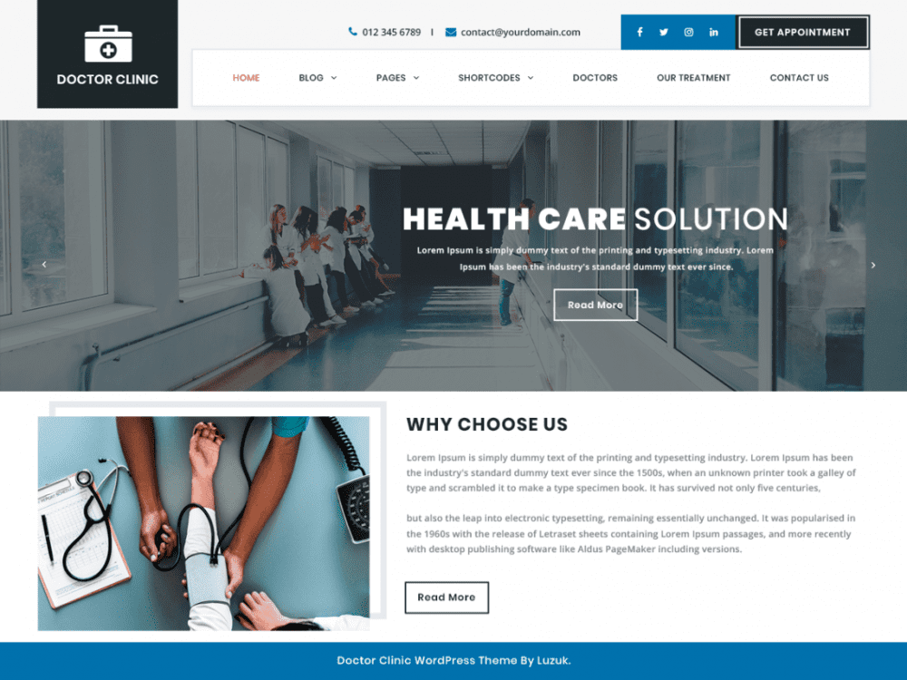 Free Doctor Clinic WordPress theme
