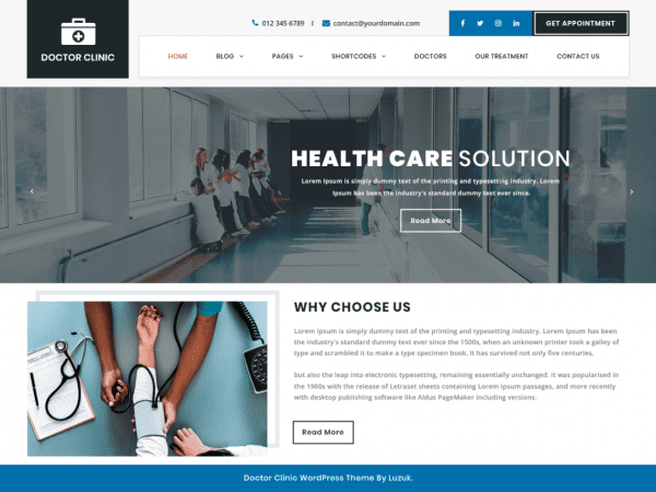 Free Doctor Clinic WordPress theme