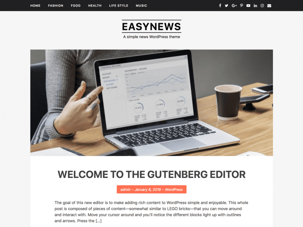 Free EasyNews WordPress theme