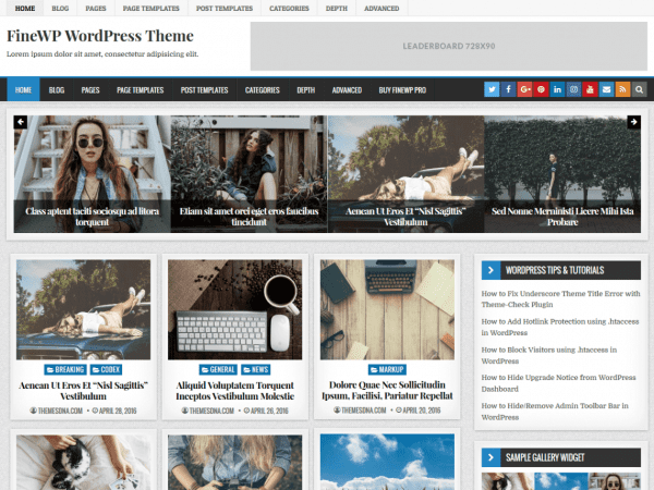 Free FineWP WordPress theme