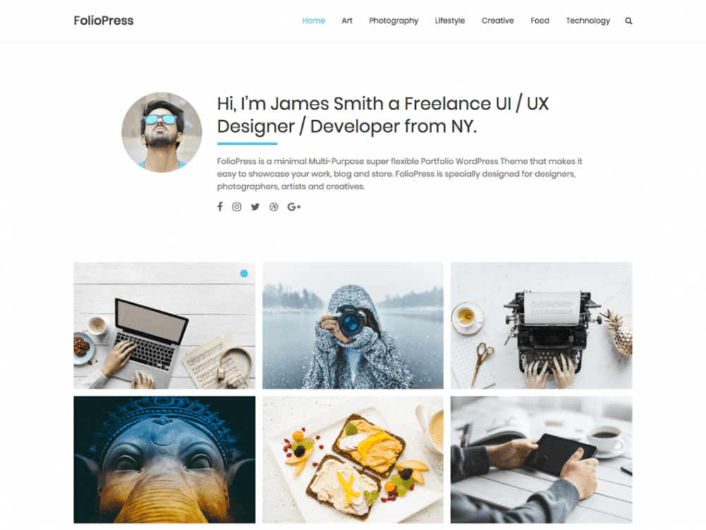 Free FolioPress WordPress theme