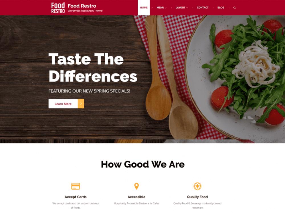 Free Food Restro WordPress theme