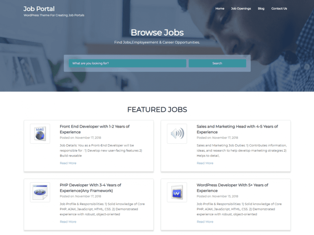 Free Job Portal WordPress theme