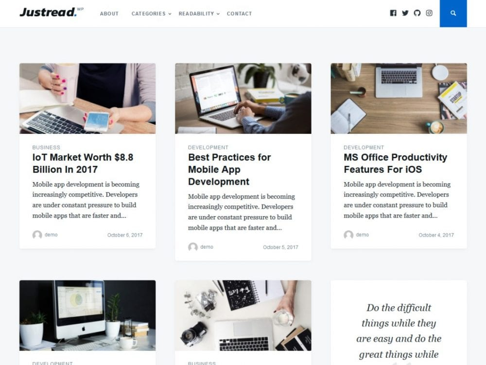 Free Justread WordPress theme