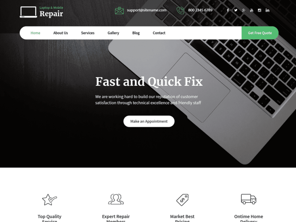 Free Laptop Repair WordPress theme