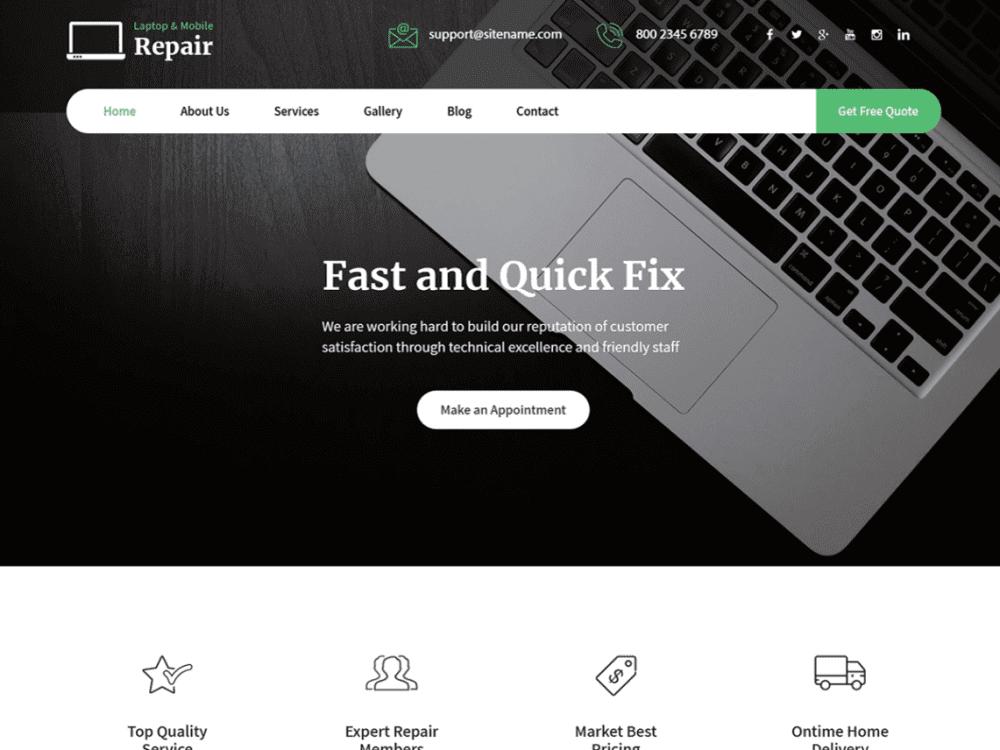 Free Laptop Repair WordPress theme