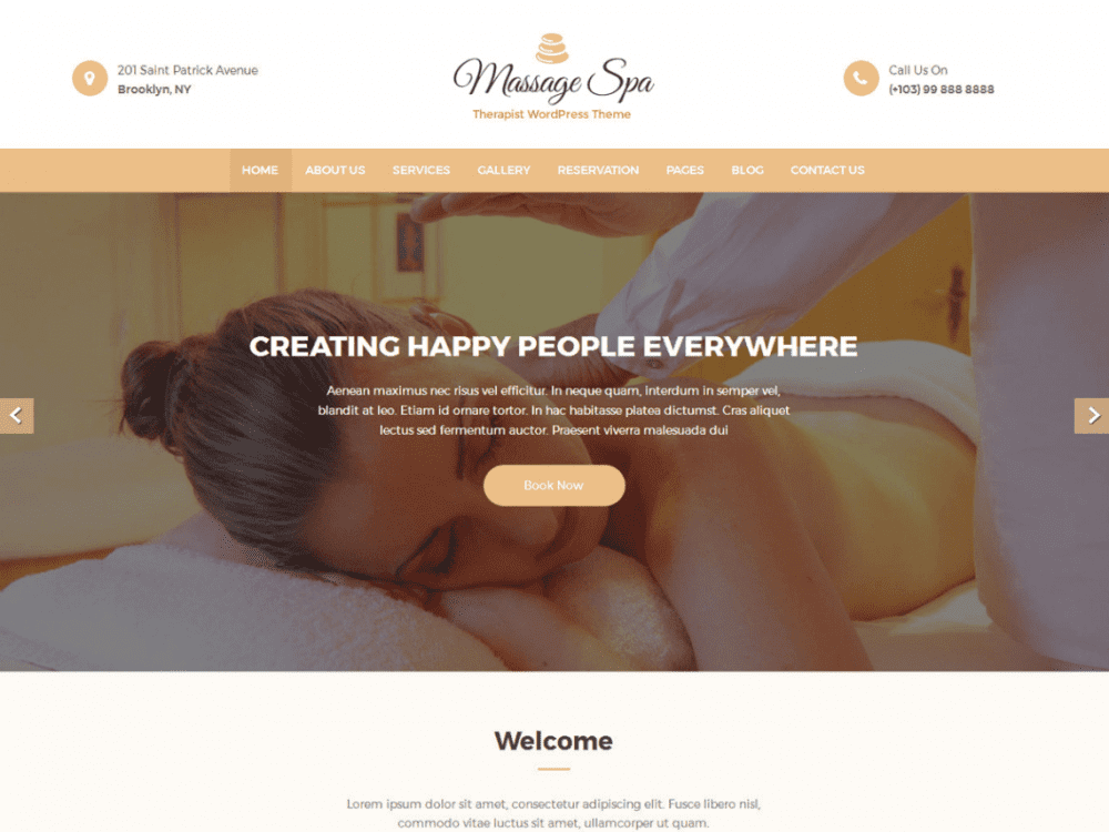 Free Massage Clean WordPress theme