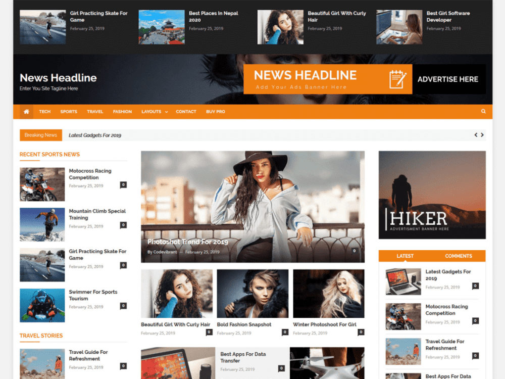 Free News Headline WordPress theme
